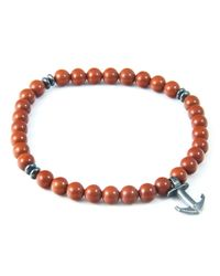 Anchor & Crew | Orange Red Jasper Starboard Natural Stone Bracelet for Men | Lyst