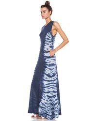 Raquel Allegra - Blue Sheer Maxi Cottonblend Dress - Lyst
