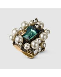 Gucci - Green Ring With Crystal And Pearls - Lyst
