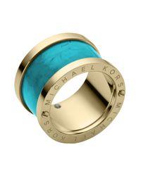 Michael Kors - Blue Goldtone Turquoise Barrel Ring - Lyst