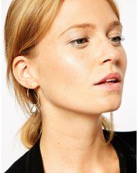 ASOS - Metallic Fine Triangle Hoop Earrings - Lyst