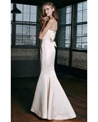 Katie Ermilio - Natural Wrapped Bow Back Seamed Gown - Lyst