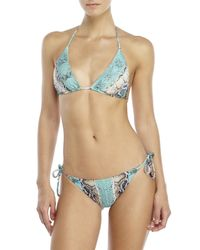 Roberto Cavalli | Blue Snake Print String Bikini | Lyst