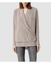 AllSaints | Brown Serra Shirt | Lyst