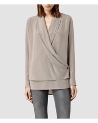 AllSaints - Brown Serra Shirt - Lyst