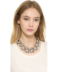 Kenneth Jay Lane - Metallic Oversized Chain Necklace - Silver - Lyst
