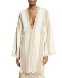 Derek Lam - Natural Long-sleeve Striped Canvas Tunic - Lyst