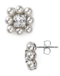 Nadri - Metallic Framed Square Stud Earrings - Lyst