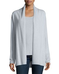 Neiman Marcus - Gray Modern Cashmere Open Cardigan - Lyst