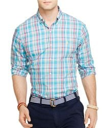 Polo Ralph Lauren - Blue Plaid Poplin Shirt for Men - Lyst