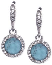 Givenchy | Metallic Rhodium-tone Small Turquoise Round Drop Earrings | Lyst