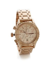 Nixon - Pink 38-20 Chrono Watch - Rose Gold - Lyst