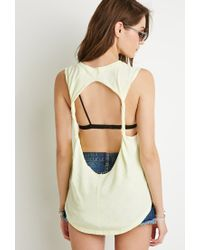 Forever 21 | Yellow Cutout-back Muscle Tee | Lyst