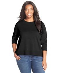Eileen Fisher | Black Merino Jersey Bateau Neck Top | Lyst