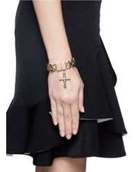 Givenchy - Metallic Cross Charm Curb Chain Bracelet - Lyst