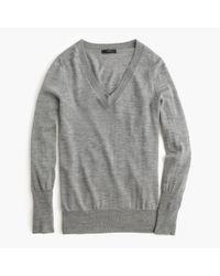 J.Crew - Gray Merino Wool V-neck Sweater - Lyst