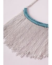 Missguided | Blue Waterfall Chain Bib Necklace Silver | Lyst