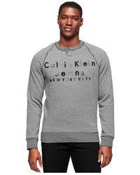 Calvin Klein Jeans - Gray Slit-neck Logo Sweatshirt for Men - Lyst