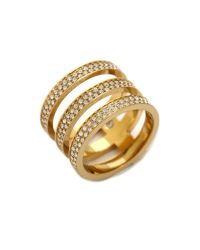 Michael Kors | Metallic Tri Stack Open Pave Bar Ring Goldclear | Lyst