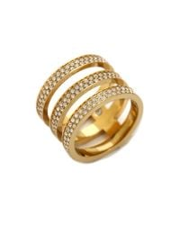 Michael Kors - Metallic Tri Stack Open Pave Bar Ring Goldclear - Lyst