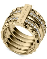 Michael Kors | Metallic Gold-Tone Clear Pavé Stackable Pyramid Ring | Lyst