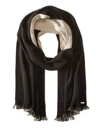 Calvin Klein | Black Two-tone Double Face Fringe Scarf | Lyst