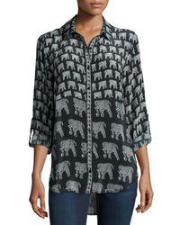 Tolani - Gray Evelyn Elephant-print Silk Tunic - Lyst