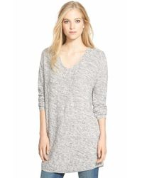 Bobeau | Gray V-neck Tunic Sweater | Lyst
