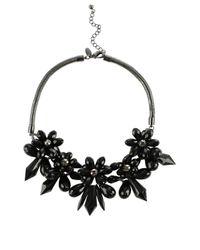 Coast - Black Floral Necklace - Lyst