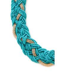 Forever 21 Blue Braided Bead Chain Collar