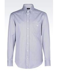 Emporio Armani - Blue Shirt In Striped Twill for Men - Lyst