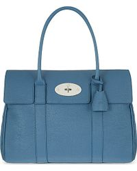 Mulberry | Bayswater Small Grained Leather Bag, Women's, Steel Blue | Lyst