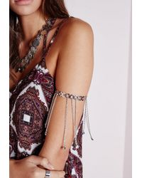 Missguided | Metallic Chain Drop Arm Cuff Silver | Lyst