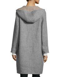 Eileen Fisher - Gray Alpaca Double-face Knee-length Coat - Lyst