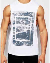 ASOS | White Sleeveless T-shirt With The 1975 Print And Dropped Armholes for Men | Lyst