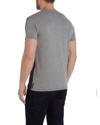 Armani Jeans | Gray Regular Fit Leather Patch Logo T Shirt for Men | Lyst