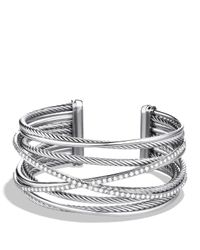 David Yurman - Metallic Crossover Five-row Cuff With Diamonds - Lyst