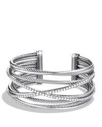 David Yurman | Metallic Crossover Five-row Cuff With Diamonds | Lyst