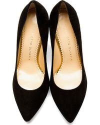 Charlotte Olympia - Black Suede Pointed Debbie Pumps - Lyst