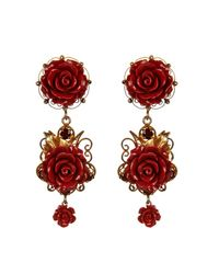 Dolce & Gabbana - Metallic Filigree Rose Clip-On Earrings - Lyst