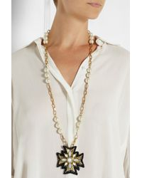 Tory Burch - Metallic Selma Goldplated Faux Pearl and Crystal Necklace - Lyst
