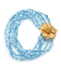 Kenneth Jay Lane | Blue Flower Beaded Multi-strand Necklace | Lyst