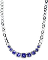 Effy Collection | Tanzanite (5-1/2 Ct. T.w.) And Diamond (5/8 Ct. T.w.) Frontal Necklace In 14k White Gold | Lyst