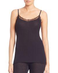 Hanro - Black Woolen Silk Lace-trim Camisole - Lyst