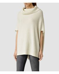 AllSaints | White Louis Cowl Neck Sweater | Lyst