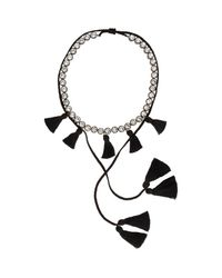 Shourouk | Black Line Pompom Necklace | Lyst