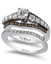 Le Vian | Brown Bridal Certified White And Chocolate Diamond Engagement Set In 14K White Gold (1-3/8 Ct. T.W.) | Lyst