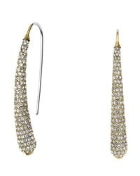 Michael Kors | Metallic Golden Pave Statement Drop Earrings | Lyst