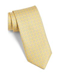 Ferragamo | Yellow Gancini Print Silk Tie for Men | Lyst