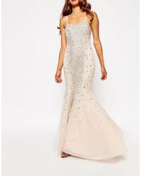 ASOS - Natural Red Carpet Embellished Bandeau Crystal Fishtail Maxi - Lyst